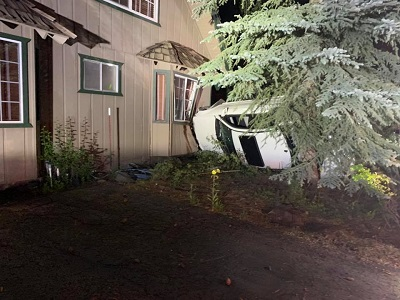 Car left running, empty and on its side after driver crashes into South Lake Tahoe home